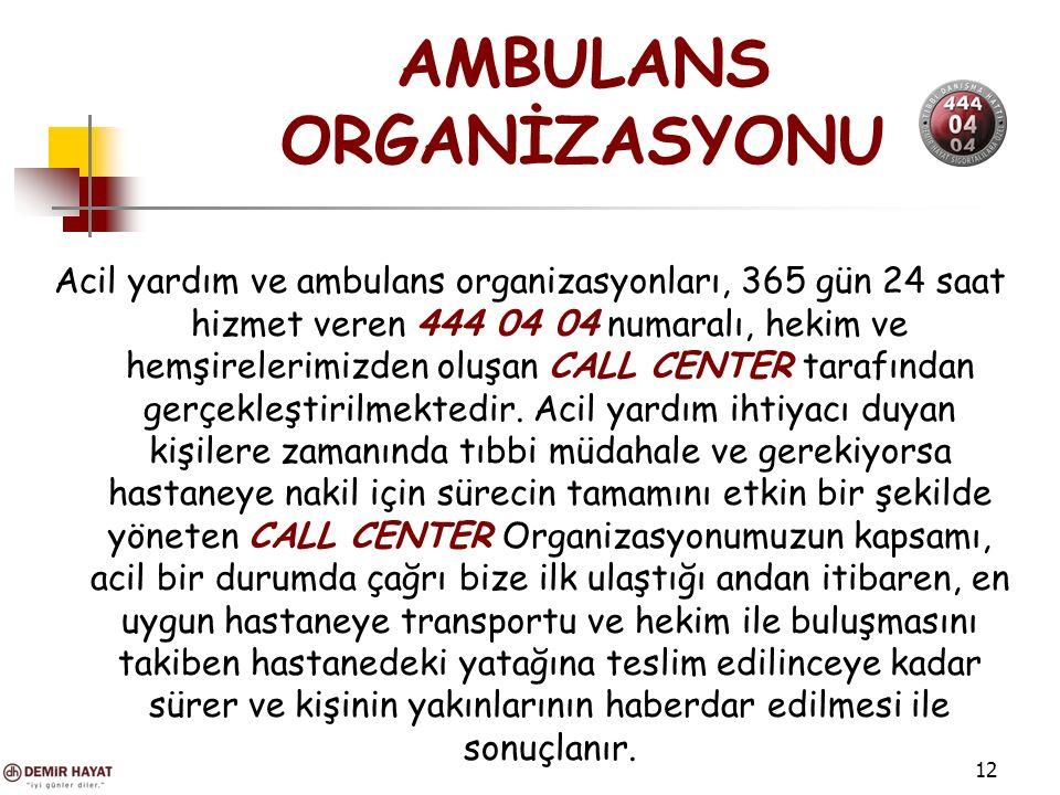 12 AMBULANS ORGANİZASYONU Acil yardım ve ambulans organizasyonları, 365 gün 24 saat hizmet veren 444 04 04 numaralı, hekim ve hemşirelerimizden oluşan CALL CENTER tarafından gerçekleştirilmektedir.