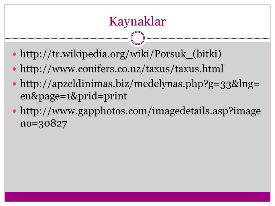 Kaynaklar http://tr.wikipedia.org/wiki/Porsuk_(bitki) http://www.conifers.co.nz/taxus/taxus.html http://apzeldinimas.biz/medelynas.php?g=33&lng= en&pa