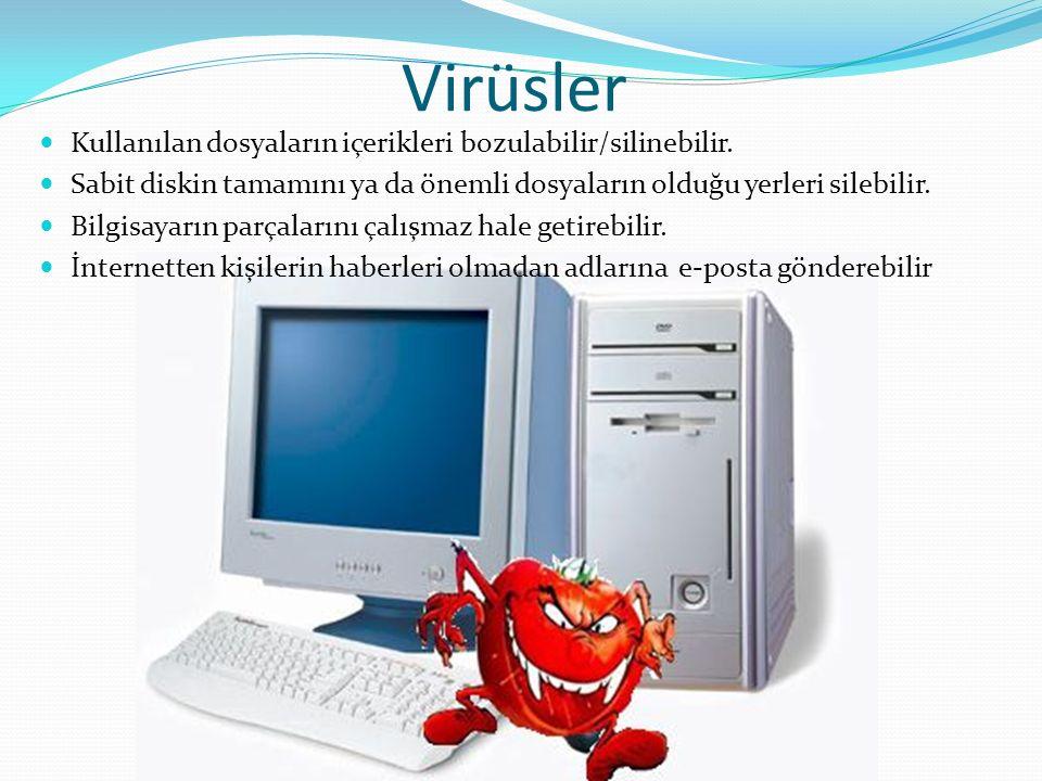 Virüsler Kullanılan dosyaların içerikleri bozulabilir/silinebilir.