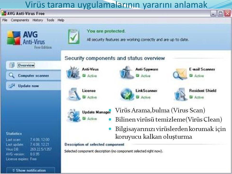 Virüs Arama,bulma (Virus Scan) Bilinen virüsü temizleme(Virüs Clean) Bilgisayarınızı virüslerden korumak için koruyucu kalkan oluşturma Virüs tarama uygulamalarının yararını anlamak