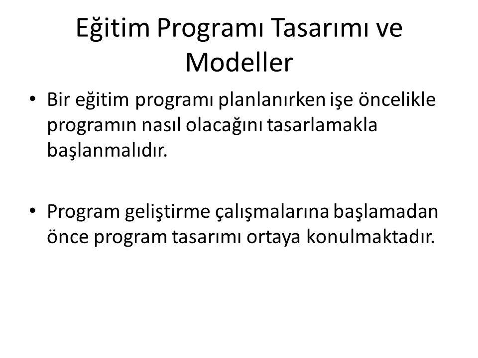Eğitim Programı Tasarımı ve Modeller Bir eğitim programı planlanırken işe öncelikle programın nasıl olacağını tasarlamakla başlanmalıdır.