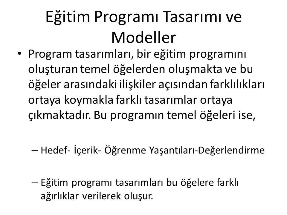Eğitim Programı Tasarımı ve Modeller Program tasarımları, bir eğitim programını oluşturan temel öğelerden oluşmakta ve bu öğeler arasındaki ilişkiler açısından farklılıkları ortaya koymakla farklı tasarımlar ortaya çıkmaktadır.