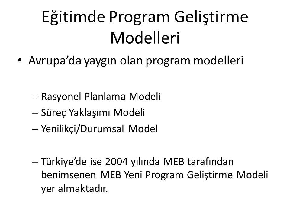 Eğitimde Program Geliştirme Modelleri Avrupa'da yaygın olan program modelleri – Rasyonel Planlama Modeli – Süreç Yaklaşımı Modeli – Yenilikçi/Durumsal Model – Türkiye'de ise 2004 yılında MEB tarafından benimsenen MEB Yeni Program Geliştirme Modeli yer almaktadır.