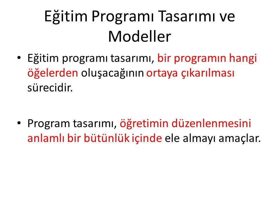 Eğitim Programı Tasarımı ve Modeller Eğitim programı tasarımı, bir programın hangi öğelerden oluşacağının ortaya çıkarılması sürecidir.