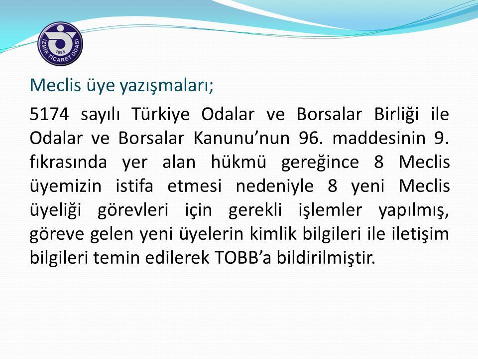 Meclis üye yazışmaları; 5174 sayılı Türkiye Odalar ve Borsalar Birliği ile Odalar ve Borsalar Kanunu'nun 96.