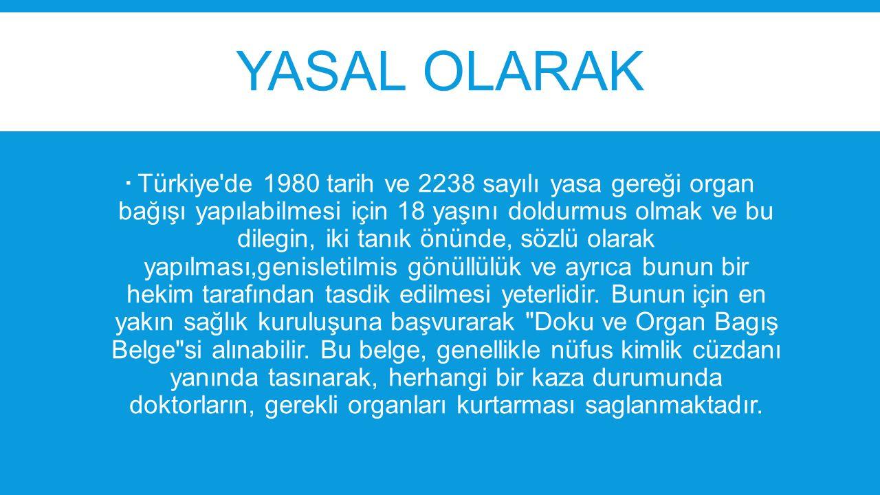 YASAL OLARAK  Türkiye'de 1980 tarih ve 2238 sayılı yasa gereği organ bağışı yapılabilmesi için 18 yaşını doldurmus olmak ve bu dilegin, iki tanık önü