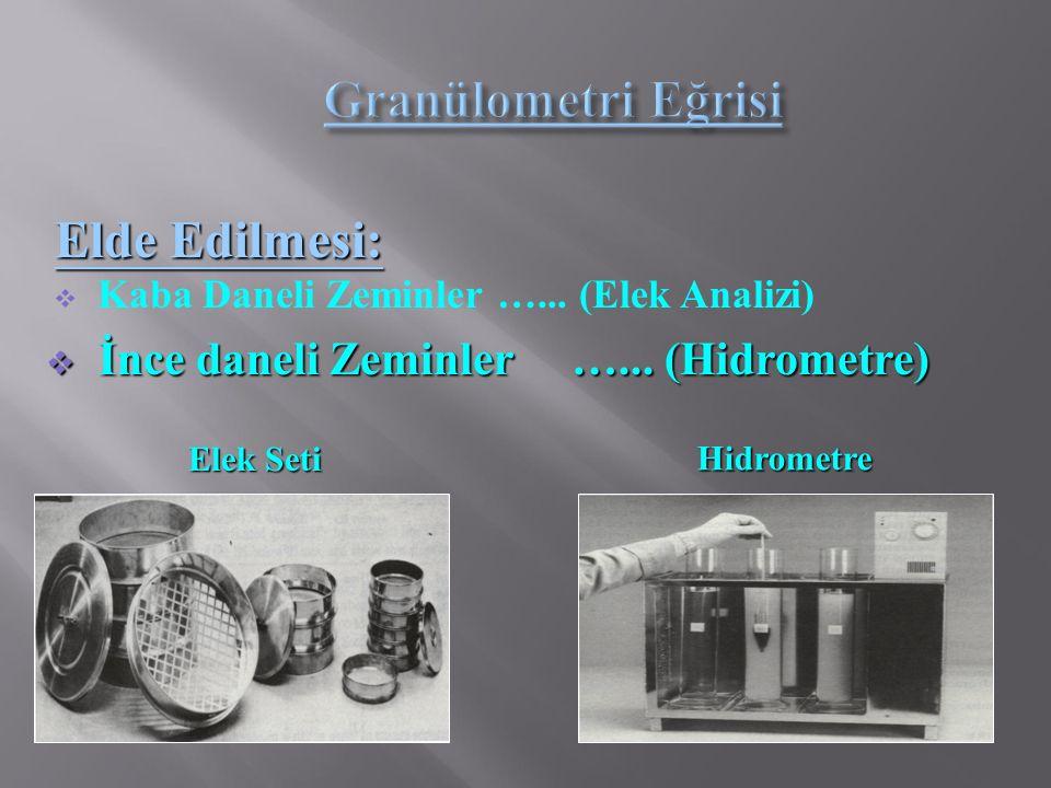  Kaba Daneli Zeminler …... (Elek Analizi) Elde Edilmesi:  İnce daneli Zeminler …... (Hidrometre) Hidrometre Elek Seti