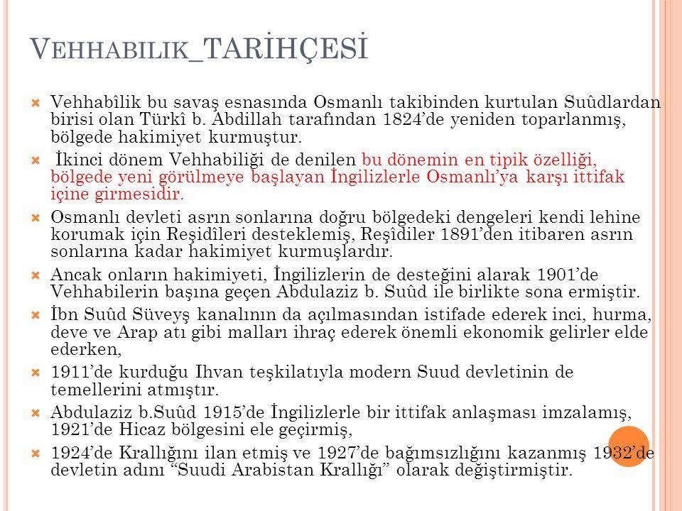 V EHHABILIK _TARİHÇESİ  Vehhabîlik bu savaş esnasında Osmanlı takibinden kurtulan Suûdlardan birisi olan Türkî b. Abdillah tarafından 1824'de yeniden