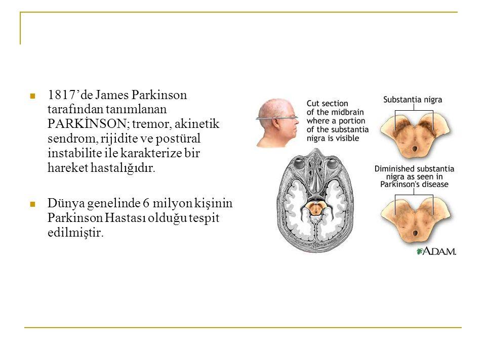 1817'de James Parkinson tarafından tanımlanan PARKİNSON; tremor, akinetik sendrom, rijidite ve postüral instabilite ile karakterize bir hareket hastal