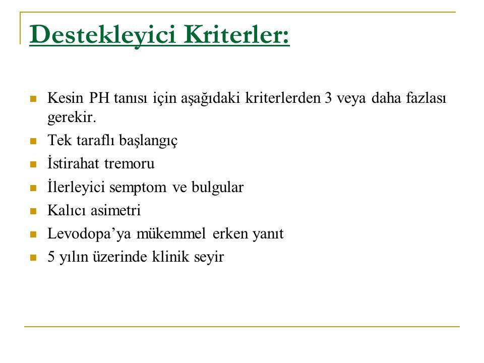 Destekleyici Kriterler: Kesin PH tanısı için aşağıdaki kriterlerden 3 veya daha fazlası gerekir. Tek taraflı başlangıç İstirahat tremoru İlerleyici se