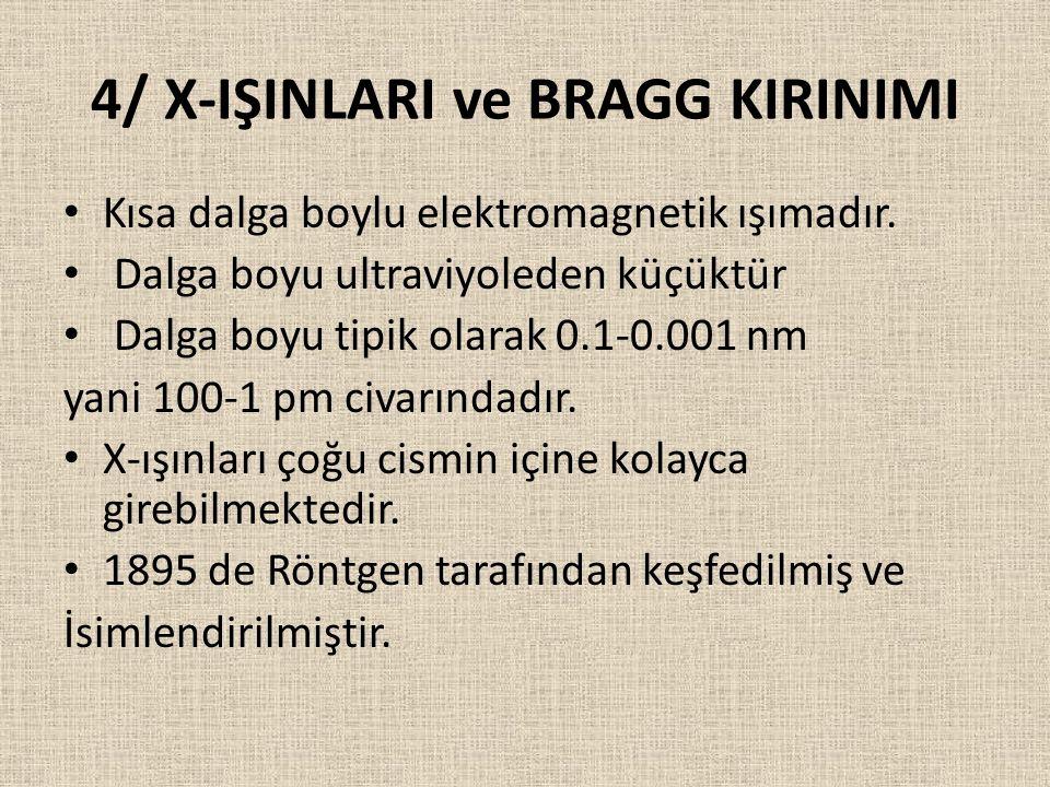 4/ X-IŞINLARI ve BRAGG KIRINIMI Kısa dalga boylu elektromagnetik ışımadır. Dalga boyu ultraviyoleden küçüktür Dalga boyu tipik olarak 0.1-0.001 nm yan