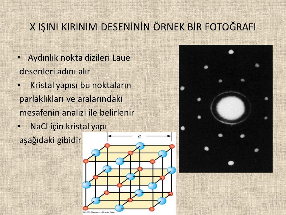 X IŞINI KIRINIM DESENİNİN ÖRNEK BİR FOTOĞRAFI Aydınlık nokta dizileri Laue desenleri adını alır Kristal yapısı bu noktaların parlaklıkları ve araların
