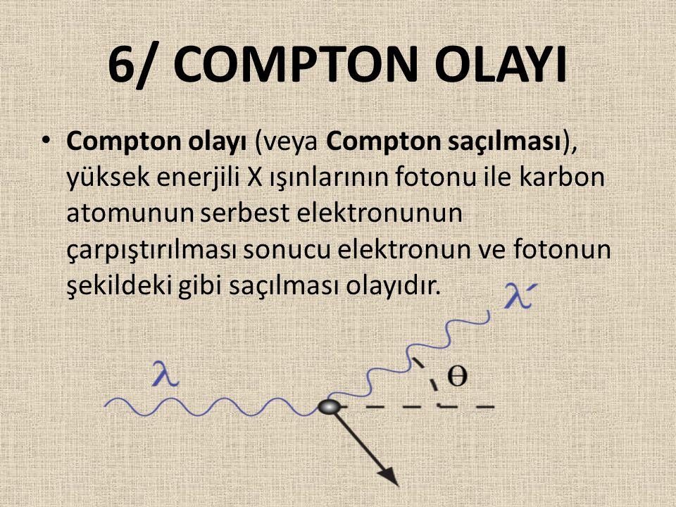 6/ COMPTON OLAYI Compton olayı (veya Compton saçılması), yüksek enerjili X ışınlarının fotonu ile karbon atomunun serbest elektronunun çarpıştırılması