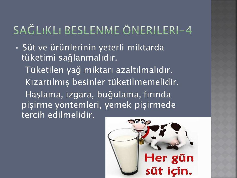 Süt ve ürünlerinin yeterli miktarda tüketimi sağlanmalıdır. Tüketilen yağ miktarı azaltılmalıdır. Kızartılmış besinler tüketilmemelidir. Haşlama, ızga