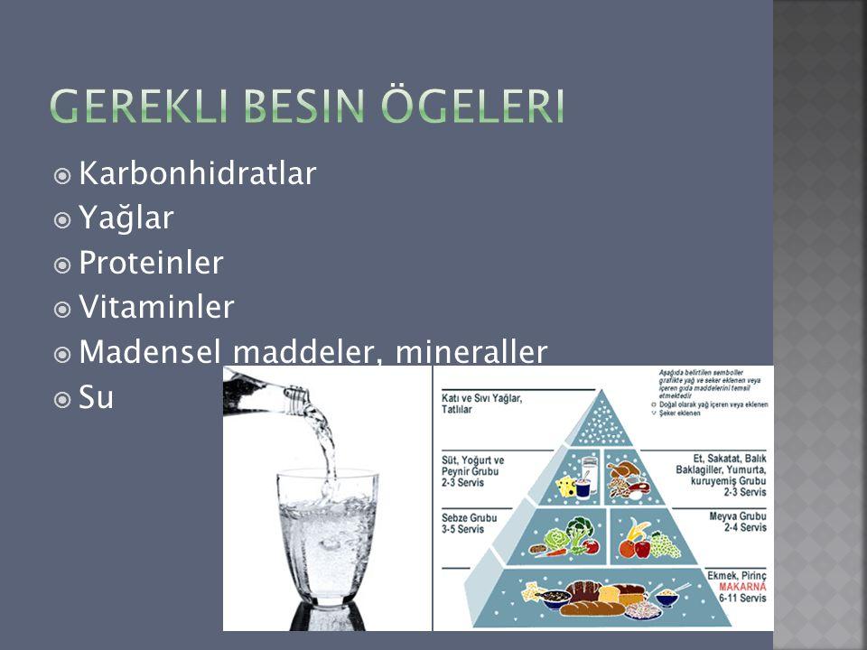  Karbonhidratlar  Yağlar  Proteinler  Vitaminler  Madensel maddeler, mineraller  Su