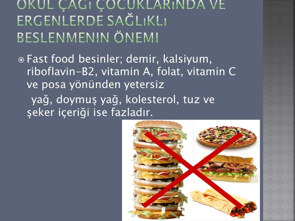  Fast food besinler; demir, kalsiyum, riboflavin-B2, vitamin A, folat, vitamin C ve posa yönünden yetersiz yağ, doymuş yağ, kolesterol, tuz ve şeker