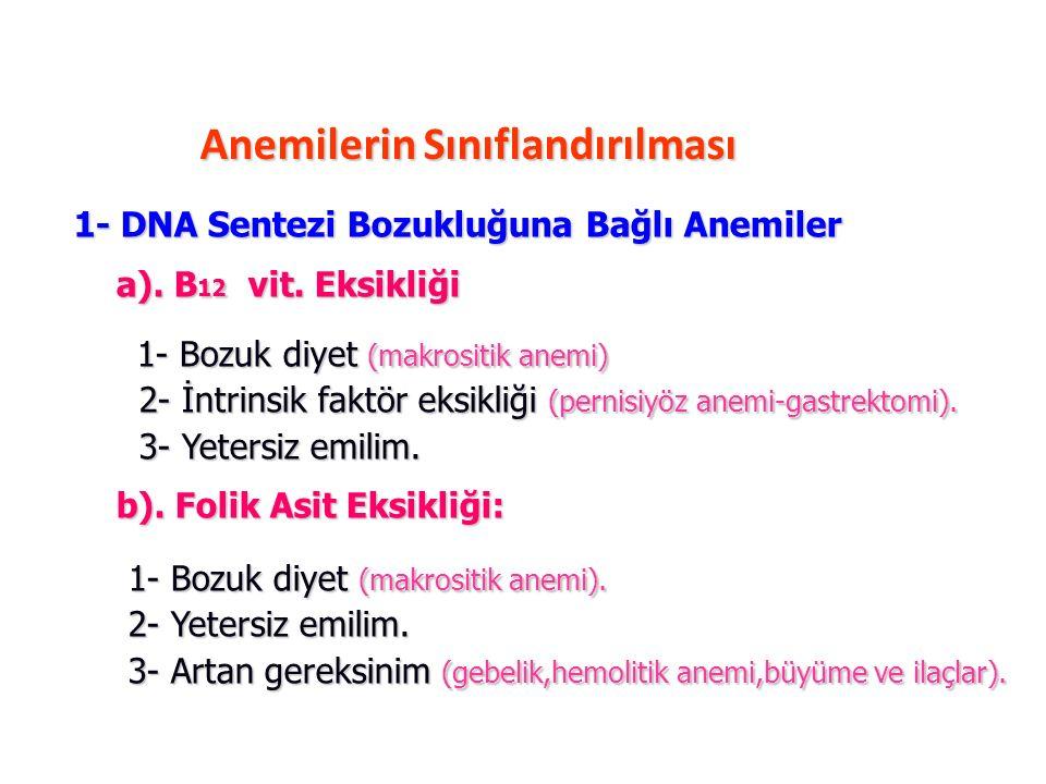 1- DNA Sentezi Bozukluğuna Bağlı Anemiler a). B 12 vit. Eksikliği a). B 12 vit. Eksikliği 1- Bozuk diyet (makrositik anemi) 1- Bozuk diyet (makrositik