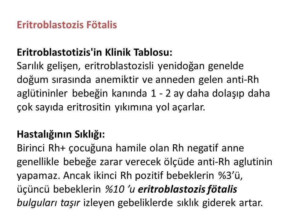 Eritroblastozis Fötalis Eritroblastotizis in Klinik Tablosu: Sarılık gelişen, eritroblastozisli yenidoğan genelde doğum sırasında anemiktir ve anneden gelen anti-Rh aglütininler bebeğin kanında 1 - 2 ay daha dolaşıp daha çok sayıda eritrositin yıkımına yol açarlar.