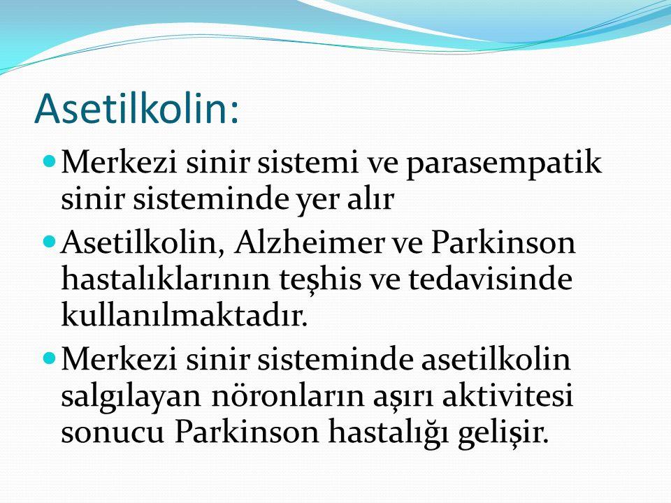 Asetilkolin: Merkezi sinir sistemi ve parasempatik sinir sisteminde yer alır Asetilkolin, Alzheimer ve Parkinson hastalıklarının teşhis ve tedavisinde