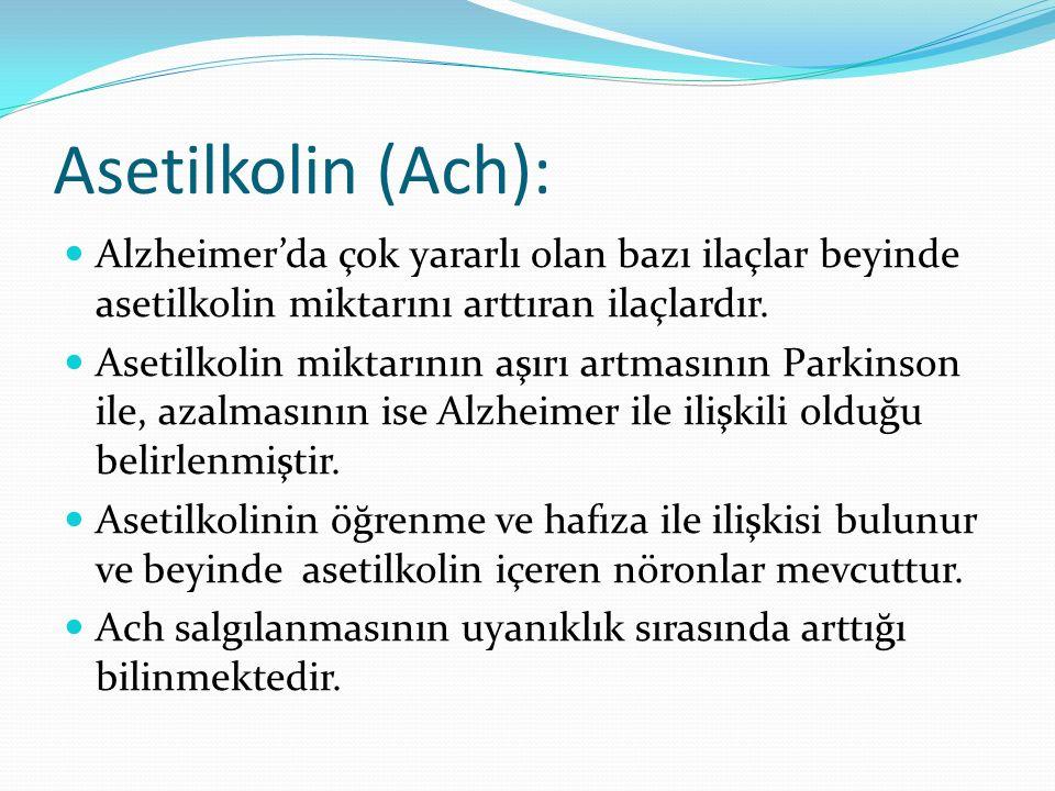 Asetilkolin (Ach): Alzheimer'da çok yararlı olan bazı ilaçlar beyinde asetilkolin miktarını arttıran ilaçlardır. Asetilkolin miktarının aşırı artmasın