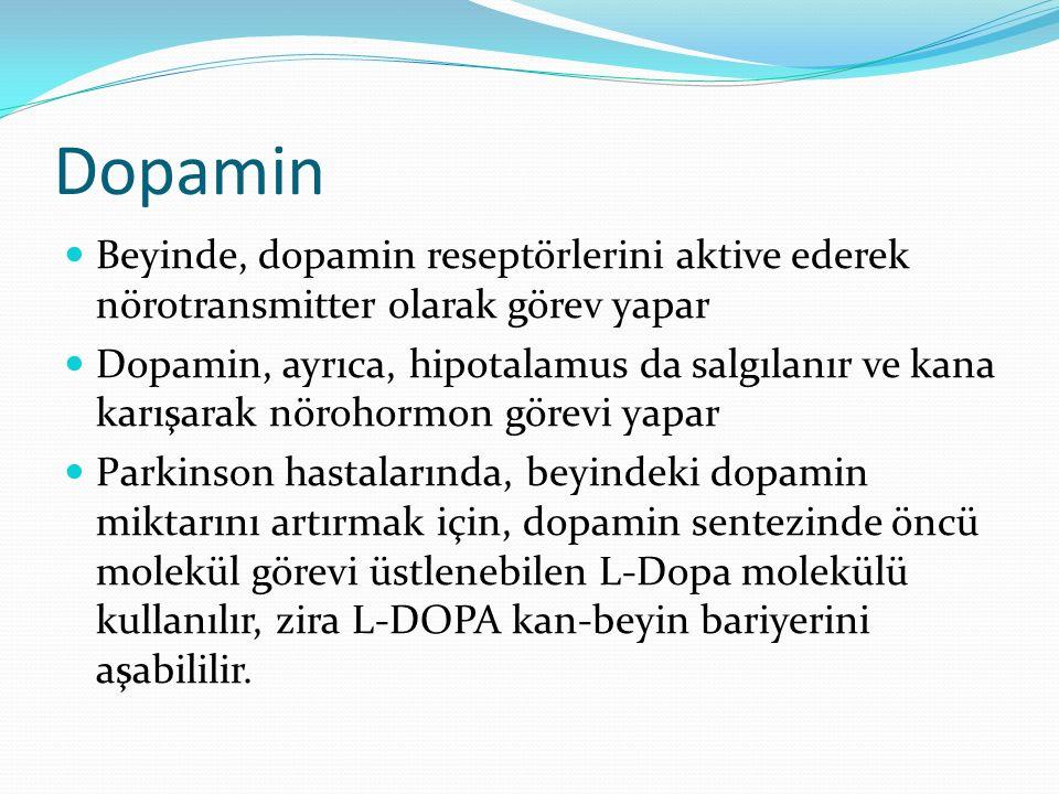 Dopamin Beyinde, dopamin reseptörlerini aktive ederek nörotransmitter olarak görev yapar Dopamin, ayrıca, hipotalamus da salgılanır ve kana karışarak