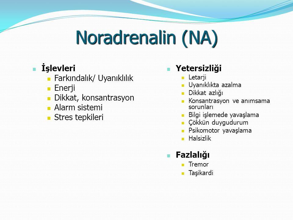 Noradrenalin (NA) İşlevleri İşlevleri Farkındalık/ Uyanıklılık Farkındalık/ Uyanıklılık Enerji Enerji Dikkat, konsantrasyon Dikkat, konsantrasyon Alar