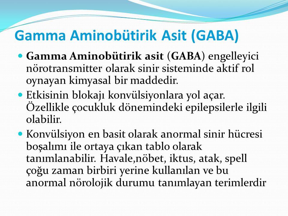 Gamma Aminobütirik Asit (GABA) Gamma Aminobütirik asit (GABA) engelleyici nörotransmitter olarak sinir sisteminde aktif rol oynayan kimyasal bir madde