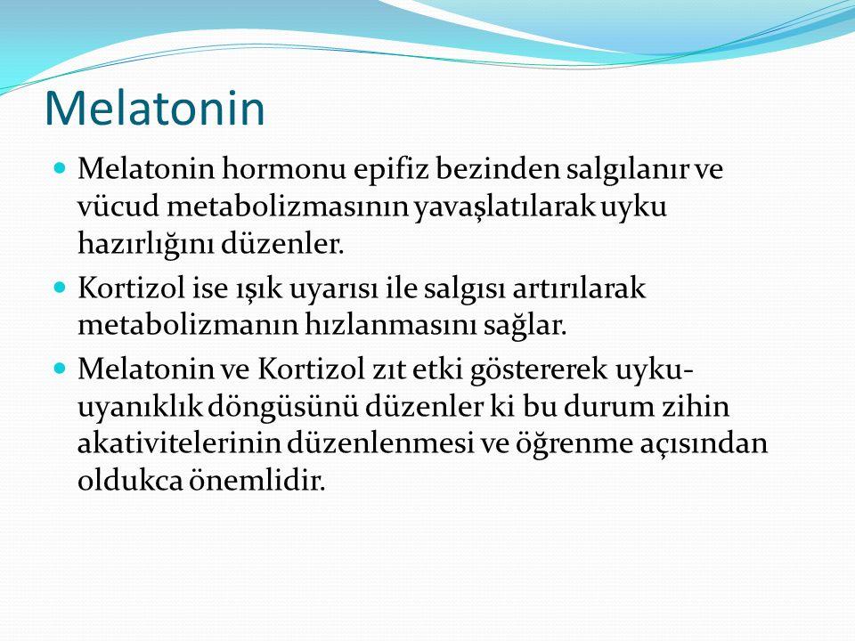 Melatonin Melatonin hormonu epifiz bezinden salgılanır ve vücud metabolizmasının yavaşlatılarak uyku hazırlığını düzenler. Kortizol ise ışık uyarısı i