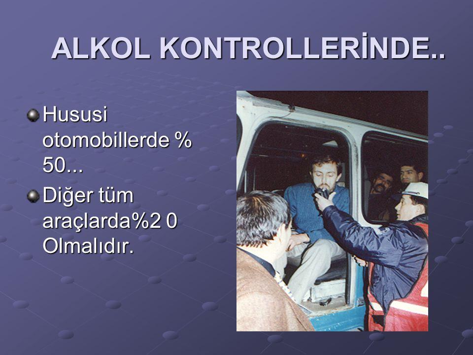 ALKOL KONTROLLERİNDE.. Hususi otomobillerde % 50... Diğer tüm araçlarda%2 0 Olmalıdır.