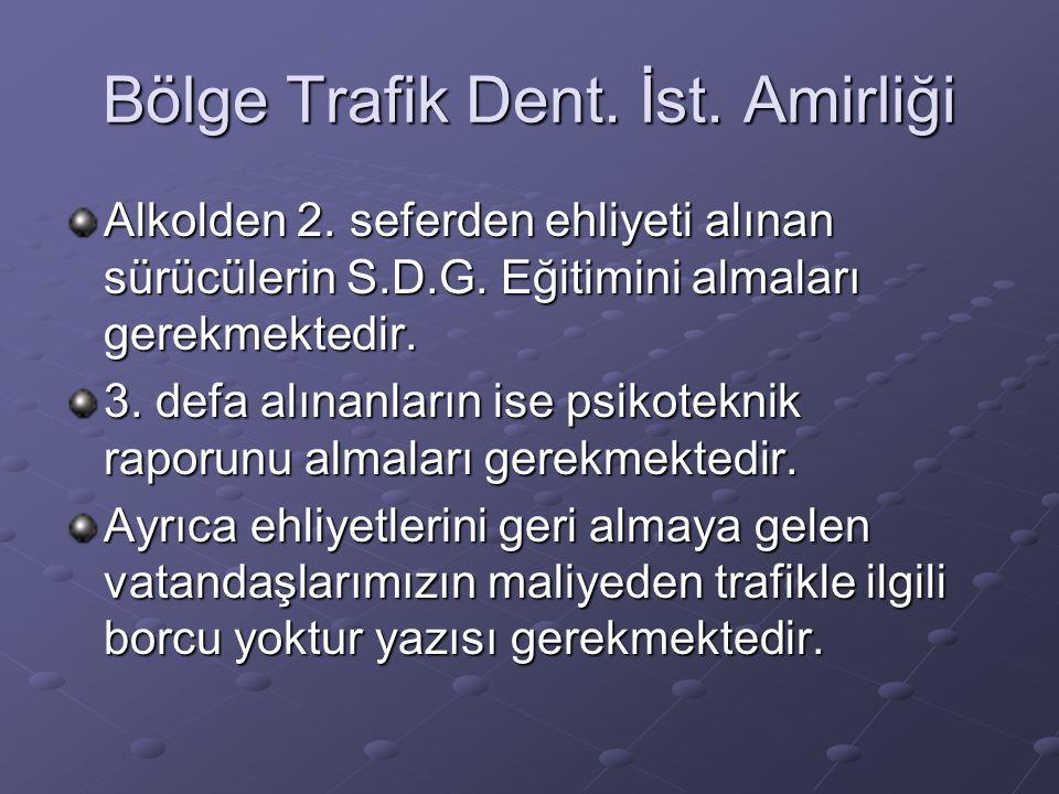 Bölge Trafik Dent.İst. Amirliği Alkolden 2. seferden ehliyeti alınan sürücülerin S.D.G.