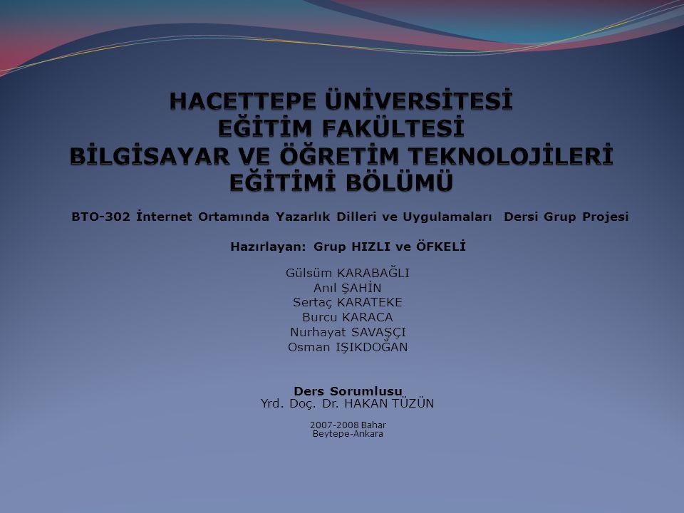 BTO-302 İnternet Ortamında Yazarlık Dilleri ve Uygulamaları Dersi Grup Projesi Hazırlayan: Grup HIZLI ve ÖFKELİ Gülsüm KARABAĞLI Anıl ŞAHİN Sertaç KARATEKE Burcu KARACA Nurhayat SAVAŞÇI Osman IŞIKDOĞAN Ders Sorumlusu Yrd.