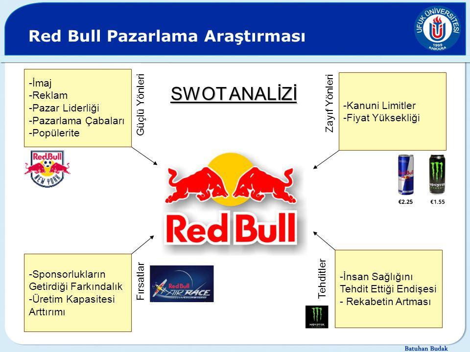 Red Bull Pazarlama Araştırması -İmaj -Reklam -Pazar Liderliği -Pazarlama Çabaları -Popülerite Güçlü Yönleri -Kanuni Limitler -Fiyat Yüksekliği Zayıf Y