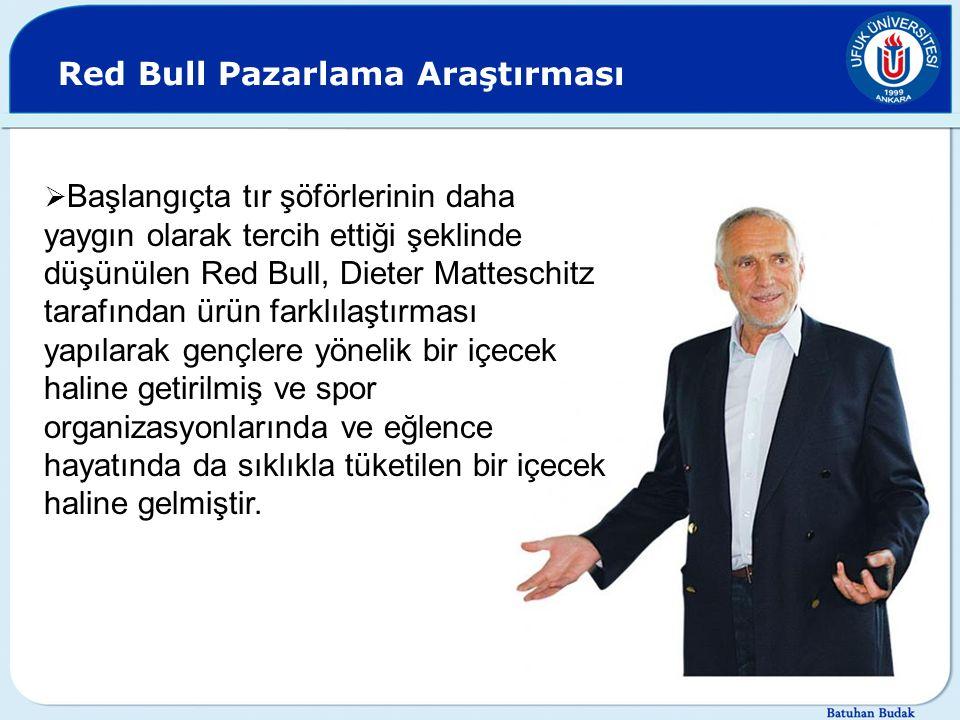 Red Bull Pazarlama Araştırması  Başlangıçta tır şöförlerinin daha yaygın olarak tercih ettiği şeklinde düşünülen Red Bull, Dieter Matteschitz tarafın