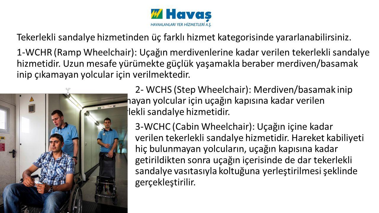 Tekerlekli sandalye hizmetinden üç farklı hizmet kategorisinde yararlanabilirsiniz.