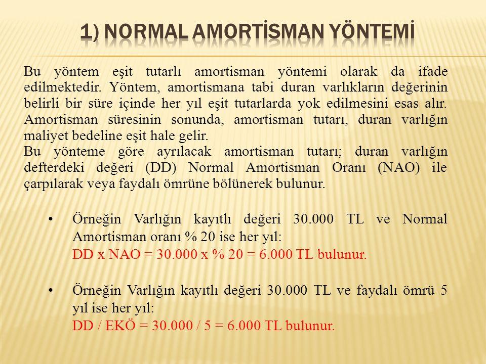 Bu yöntem eşit tutarlı amortisman yöntemi olarak da ifade edilmektedir. Yöntem, amortismana tabi duran varlıkların değerinin belirli bir süre içinde h