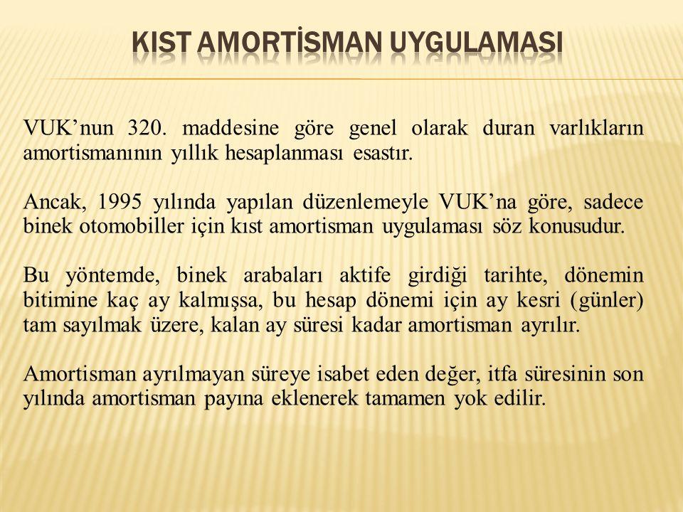 VUK'nun 320. maddesine göre genel olarak duran varlıkların amortismanının yıllık hesaplanması esastır. Ancak, 1995 yılında yapılan düzenlemeyle VUK'na