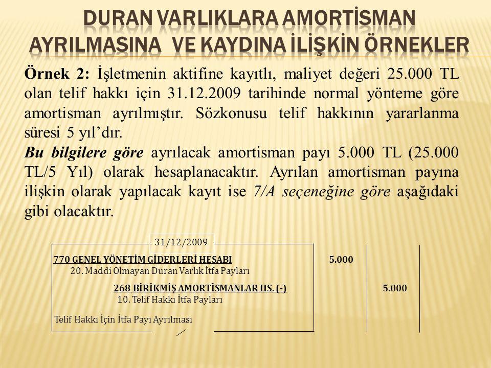 Örnek 2: İşletmenin aktifine kayıtlı, maliyet değeri 25.000 TL olan telif hakkı için 31.12.2009 tarihinde normal yönteme göre amortisman ayrılmıştır.