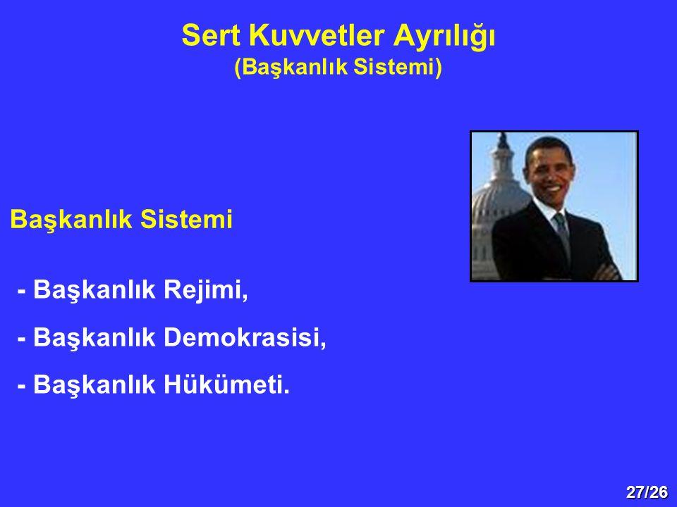 27/26 Sert Kuvvetler Ayrılığı (Başkanlık Sistemi) Başkanlık Sistemi - Başkanlık Rejimi, - Başkanlık Demokrasisi, - Başkanlık Hükümeti.