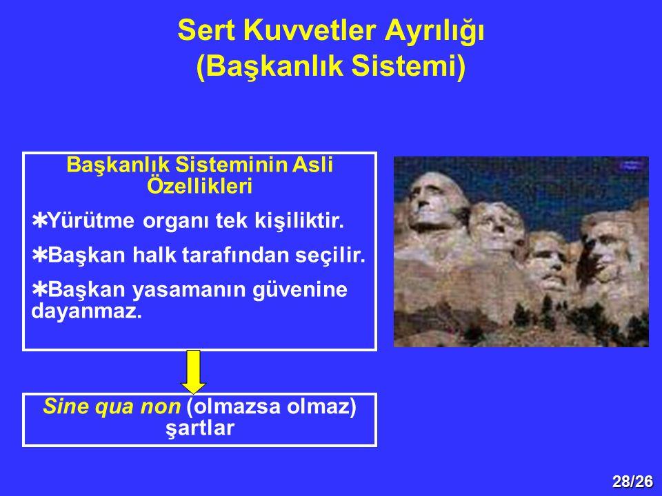 28/26 Sert Kuvvetler Ayrılığı (Başkanlık Sistemi) Başkanlık Sisteminin Asli Özellikleri  Yürütme organı tek kişiliktir.  Başkan halk tarafından seçi