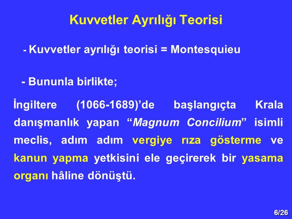 6/26 Kuvvetler Ayrılığı Teorisi - Kuvvetler ayrılığı teorisi = Montesquieu - Bununla birlikte; İngiltere (1066-1689)'de başlangıçta Krala danışmanlık