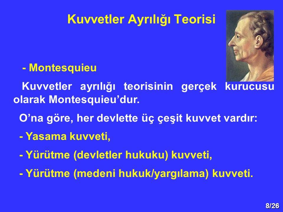 8/26 - Montesquieu Kuvvetler ayrılığı teorisinin gerçek kurucusu olarak Montesquieu'dur. O'na göre, her devlette üç çeşit kuvvet vardır: - Yasama kuvv