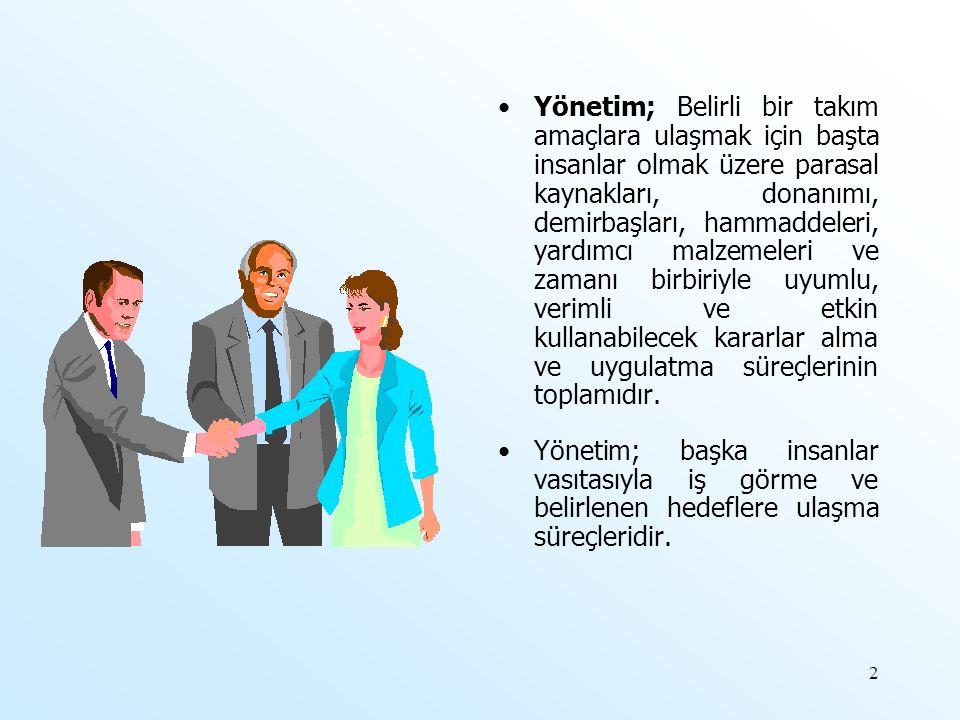 Yönetim; Belirli bir takım amaçlara ulaşmak için başta insanlar olmak üzere parasal kaynakları, donanımı, demirbaşları, hammaddeleri, yardımcı malzeme