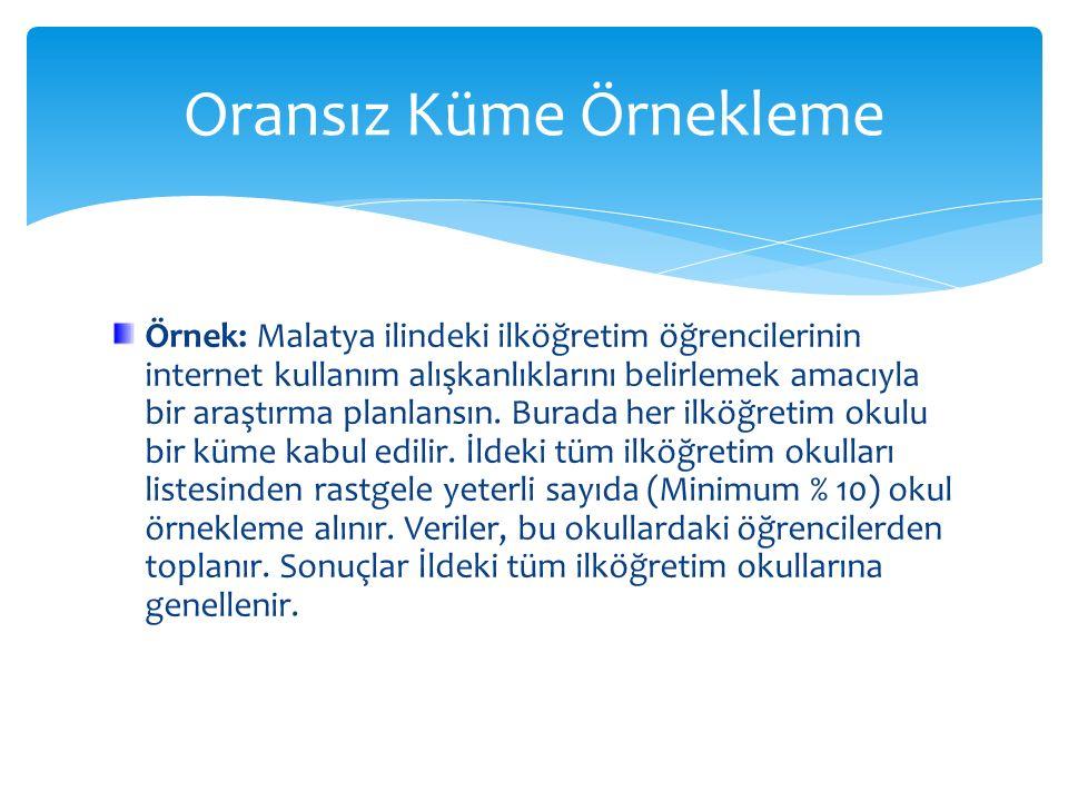 Örnek: Malatya ilindeki ilköğretim öğrencilerinin internet kullanım alışkanlıklarını belirlemek amacıyla bir araştırma planlansın. Burada her ilköğret