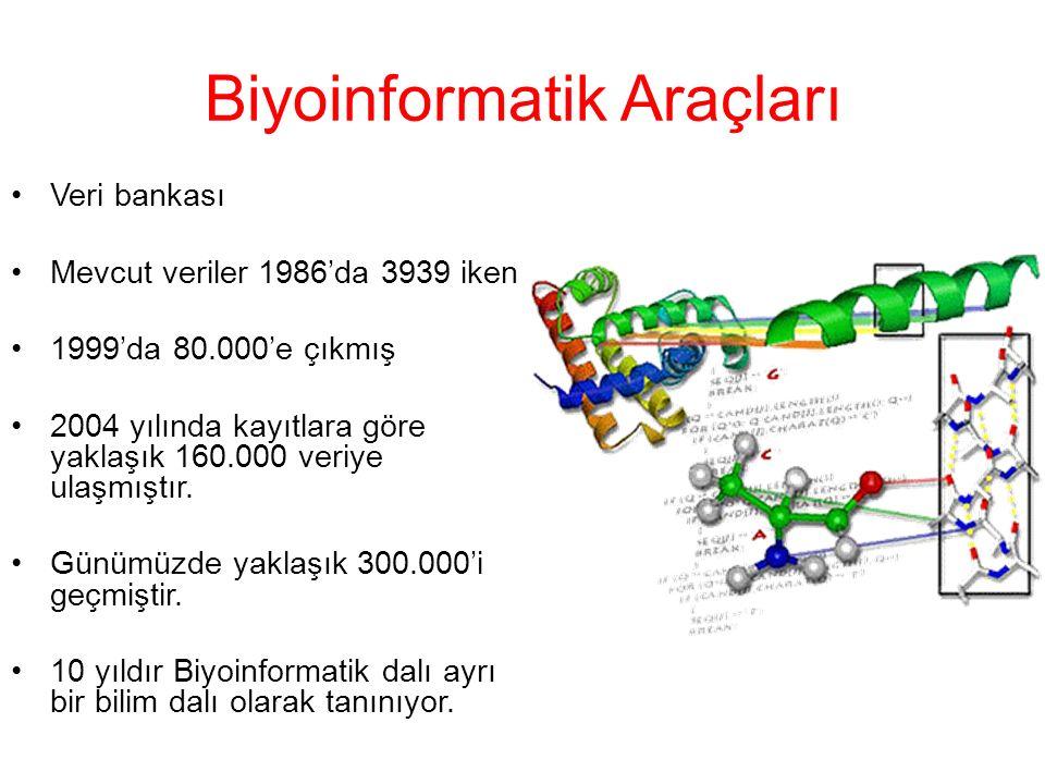 Metodolojik çalışmalar DNA sıra ve dizilimi araştırmaları Protein sıra ve dizilimi araştırmaları Makromoleküler yapıların üç boyutlu dizilim araştırmaları Küçük moleküllerin ligandlarıyla etkileşiminin araştırılması Heterojen biyolojik veritabanlarının entegrasyonu Biyolojik enformasyon paylaşımının kolaylaştırılması Bilgisayar ile otomize edilmiş veri analizi ve iletimi Etkileşimde bulunan gen ürünleri için bilgi ağları oluşturulması Kimyasal reaksiyonlardan hücrelerarası iletişime kadar pek çok biyolojik faaliyet sürecinin simülasyonu Büyük çaplı biyolojik deneylerden (GENOM projeleri gibi) çıkan sonuçların analizi