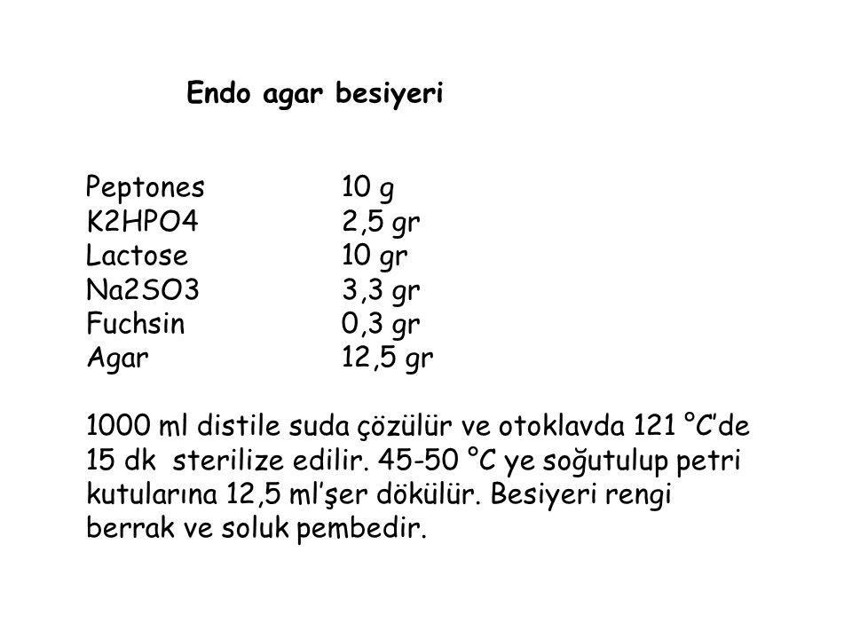 Endo agar besiyeri Peptones10 g K2HPO42,5 gr Lactose10 gr Na2SO3 3,3 gr Fuchsin0,3 gr Agar12,5 gr 1000 ml distile suda çözülür ve otoklavda 121 °C'de