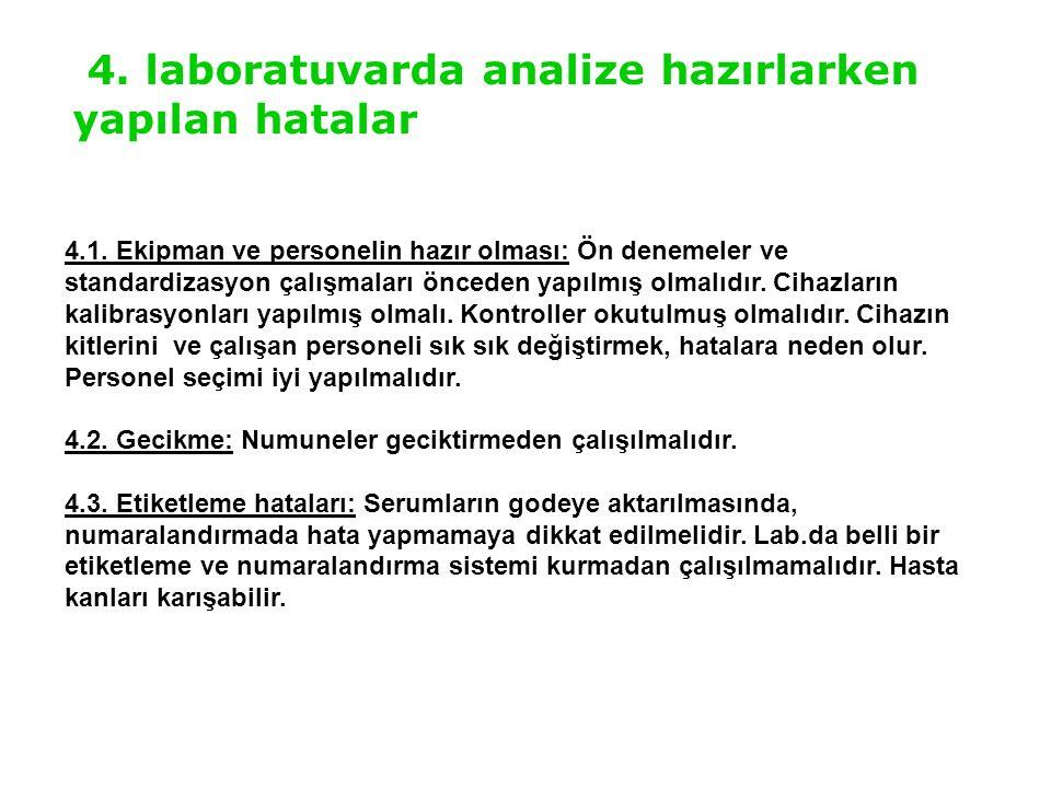 4. laboratuvarda analize hazırlarken yapılan hatalar 4.1. Ekipman ve personelin hazır olması: Ön denemeler ve standardizasyon çalışmaları önceden yapı