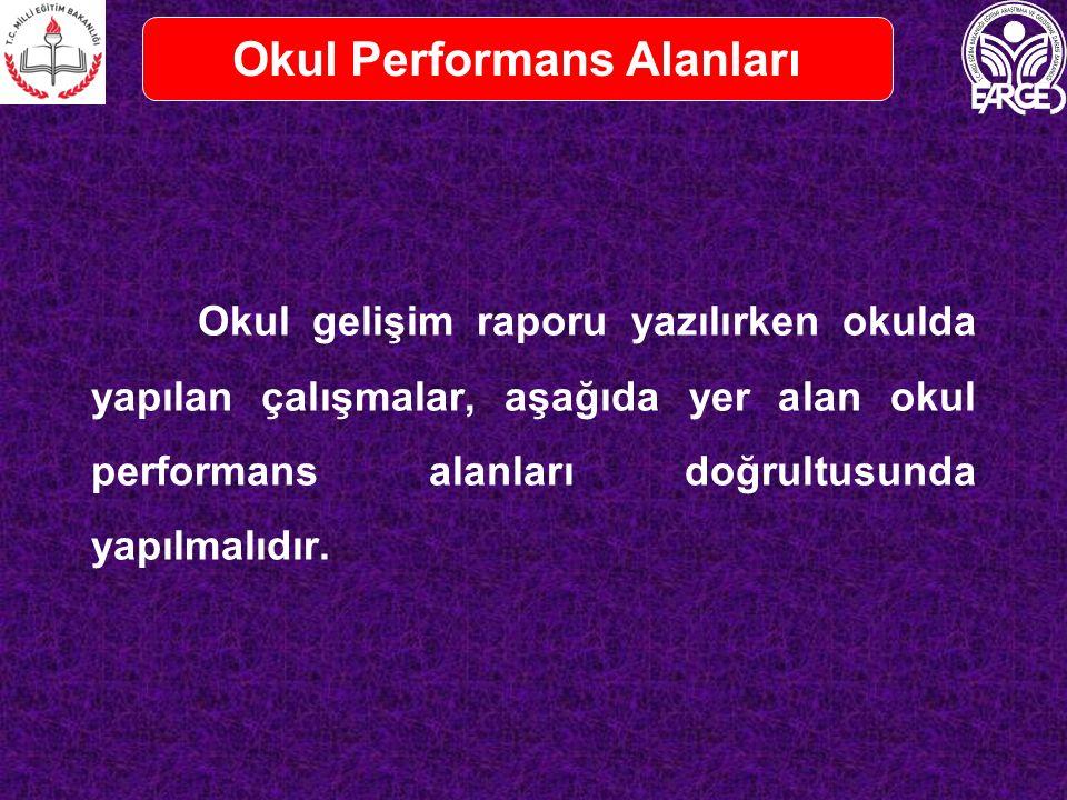 Okul gelişim raporu yazılırken okulda yapılan çalışmalar, aşağıda yer alan okul performans alanları doğrultusunda yapılmalıdır.