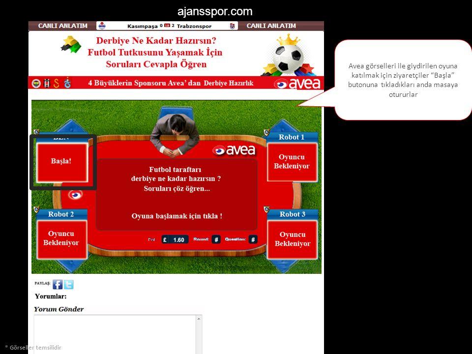 """ajansspor.com * Görseller temsilidir Avea görselleri ile giydirilen oyuna katılmak için ziyaretçiler """"Başla"""" butonuna tıkladıkları anda masaya otururl"""