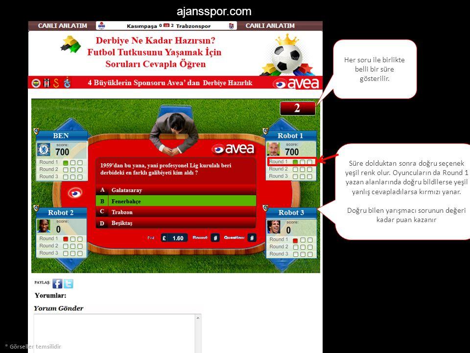 ajansspor.com * Görseller temsilidir Her soru ile birlikte belli bir süre gösterilir. Süre dolduktan sonra doğru seçenek yeşil renk olur. Oyuncuların