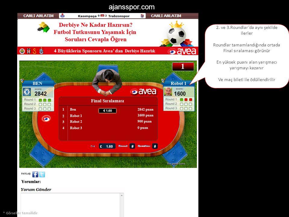 ajansspor.com * Görseller temsilidir 2. ve 3.Roundlar'da aynı şekilde ilerler Roundlar tamamlandığında ortada Final sıralaması görünür En yüksek puanı